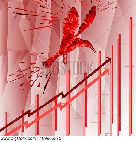 Bird Symbol On Stock Market. Vector Forex Or Product Charts - Abstract Background. Growing Market. I