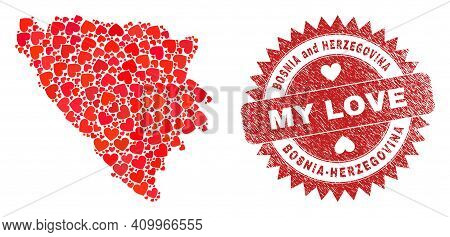 Vector Collage Bosnia And Herzegovina Map Of Lovely Heart Items And Grunge My Love Badge. Collage Ge
