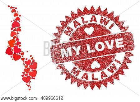 Vector Collage Malawi Map Of Love Heart Elements And Grunge My Love Stamp. Collage Geographic Malawi