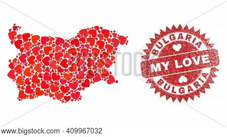 Vector Collage Bulgaria Map Of Love Heart Items And Grunge My Love Badge. Mosaic Geographic Bulgaria