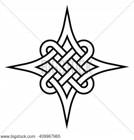 Celtic Quaternary Knot Of Eternity, Vector Celtic Pattern Symbol Close Connection And Eternal Love