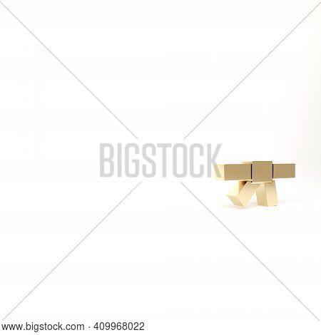 Gold Black Karate Belt Icon Isolated On White Background. 3d Illustration 3d Render