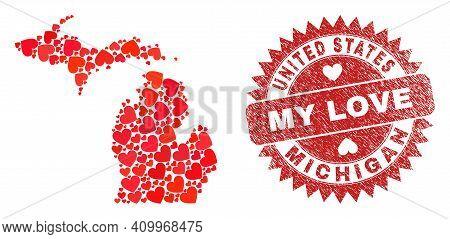 Vector Collage Michigan State Map Of Love Heart Elements And Grunge My Love Seal Stamp. Collage Geog