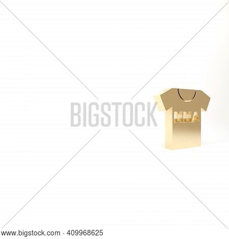 Gold T-shirt With Fight Club Mma Icon Isolated On White Background. Mixed Martial Arts. 3d Illustrat