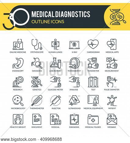 Set Of Outline Icons On Following Topics Medical Diagnostics, Healthcare Diagnosis, Medical Equipmen