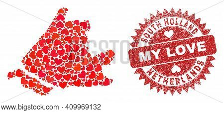 Vector Collage South Holland Map Of Valentine Heart Elements And Grunge My Love Badge. Collage Geogr