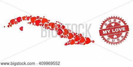 Vector Mosaic Cuba Map Of Love Heart Items And Grunge My Love Stamp. Mosaic Geographic Cuba Map Cons