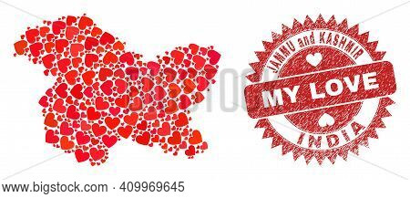Vector Collage Jammu And Kashmir State Map Of Lovely Heart Elements And Grunge My Love Stamp. Collag