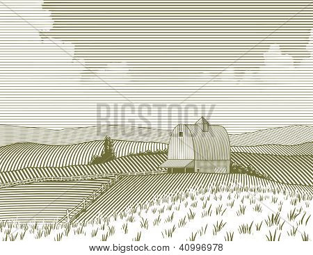 Woodcut Barn And Farm
