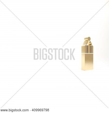 Gold Punching Bag Icon Isolated On White Background. 3d Illustration 3d Render