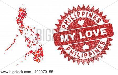Vector Collage Philippines Map Of Love Heart Elements And Grunge My Love Seal. Mosaic Geographic Phi
