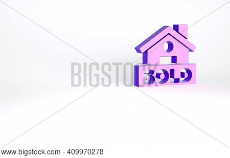 Purple Hanging Sign With Text Sold Icon Isolated On White Background. Sold Sticker. Sold Signboard.