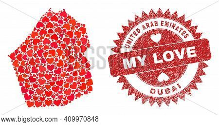 Vector Collage Dubai Emirate Map Of Valentine Heart Items And Grunge My Love Stamp. Collage Geograph