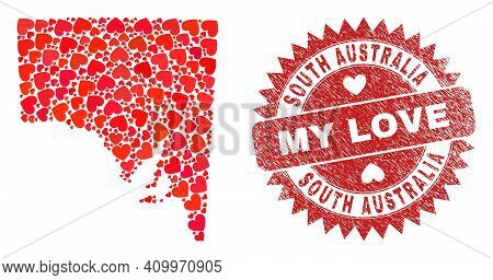 Vector Mosaic South Australia Map Of Love Heart Elements And Grunge My Love Stamp. Mosaic Geographic