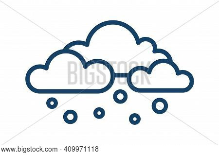 Abstract Icon With Snow Or Hail Falling From Clouds. Snowy Weather Logo In Line Art Style. Snowfall