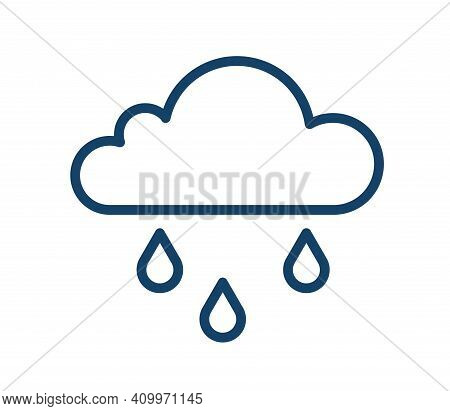 Abstract Icon Of Wet And Rainy Weather With Drops Falling From Cloud. Simple Raincloud Logo With Thr