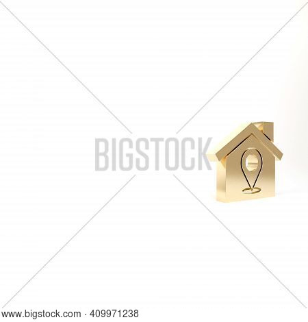 Gold Map Pointer With House Icon Isolated On White Background. Home Location Marker Symbol. 3d Illus