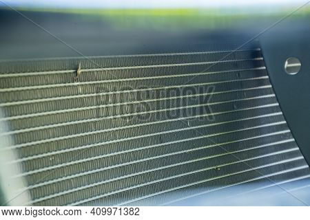 Close Up Aluminum Fin Of Cooling Condenser Coil Of Air Condition System. Pattern For Abstract Backgr