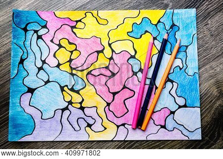 Abstract Imaginary Colorful Picture Of Curves By Colored Pencils. A Psychological Art Therapy Tests.