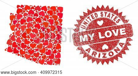 Vector Collage Arizona State Map Of Valentine Heart Items And Grunge My Love Stamp. Collage Geograph