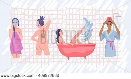 Water Procedures, Women Washing, Taking A Bath, Washing The Body, Bath And Shower Time. Vector Flat