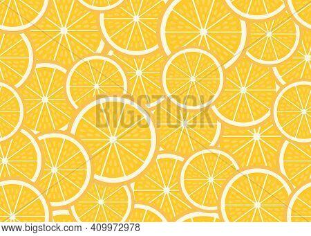 Set Of Ripe Piece And Slice Orange Background. Fresh Sour Citrus Fruit Orange Seamless Pattern. Vect
