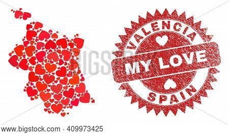 Vector Mosaic Valencia Province Map Of Love Heart Elements And Grunge My Love Seal. Mosaic Geographi