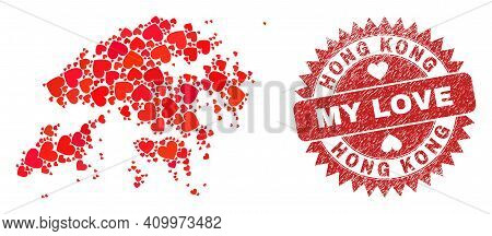 Vector Collage Hong Kong Map Of Love Heart Elements And Grunge My Love Seal Stamp. Collage Geographi