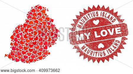 Vector Collage Mauritius Island Map Of Love Heart Items And Grunge My Love Seal. Mosaic Geographic M
