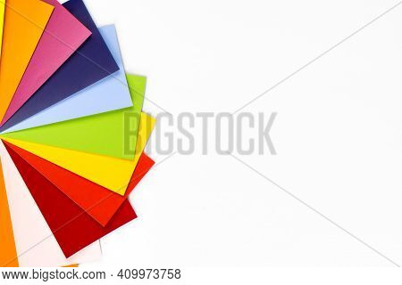 Color Guide Spectrum Swatch. Samples Rainbow On White Background. Rainbow Sample Colors Catalogue