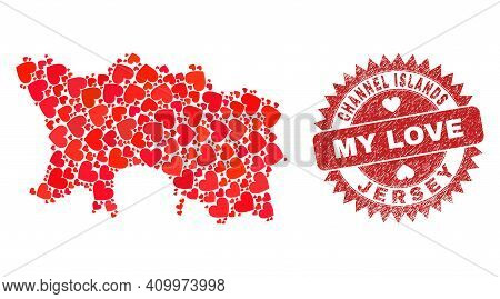 Vector Collage Jersey Island Map Of Love Heart Items And Grunge My Love Seal. Collage Geographic Jer
