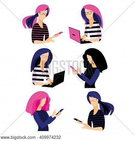 Young Women Holding Digital Gadgets. People Icons. Flat Cartoon Vector.