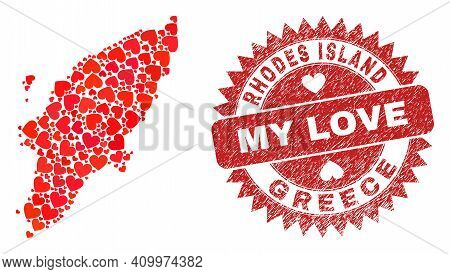 Vector Collage Rhodes Island Map Of Valentine Heart Elements And Grunge My Love Seal. Collage Geogra