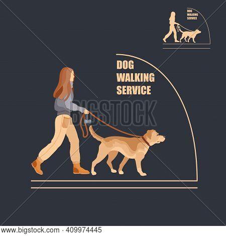 Dog Walking Service. Dog Sitter. Flat Vector Illustration.