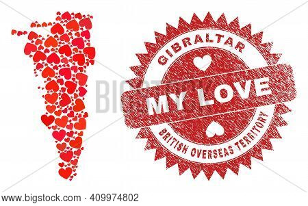 Vector Mosaic Gibraltar Map Of Love Heart Elements And Grunge My Love Seal. Mosaic Geographic Gibral
