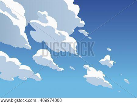 Atmospheric Blue Sky, White Cumulus Clouds. Cartoon Style.