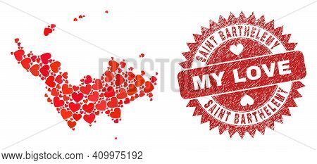 Vector Collage Saint Barthelemy Map Of Love Heart Elements And Grunge My Love Stamp. Collage Geograp