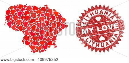 Vector Mosaic Lithuania Map Of Lovely Heart Items And Grunge My Love Seal. Mosaic Geographic Lithuan