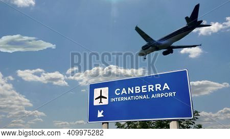 Plane Landing In Canberra Australia Airport With Signboard
