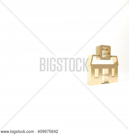 Gold Store Building Of Beer Shop Icon Isolated On White Background. Brewery Sign. 3d Illustration 3d