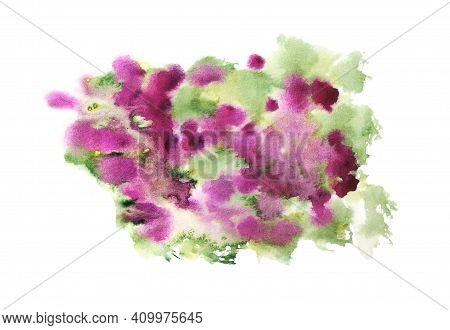 Abstract Watercolor Stains Like As Bush With Purple Flower. Bougainvillea, Roses Or Other Pink Bloss