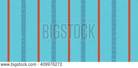 Swimming Pool With Water, Swimming Lanes, And No People. View From Above. Web Banner Of Vector Flat