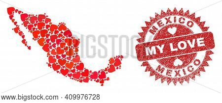 Vector Collage Mexico Map Of Valentine Heart Elements And Grunge My Love Seal. Collage Geographic Me