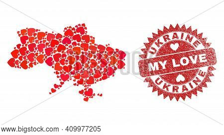 Vector Collage Ukraine Map Of Lovely Heart Items And Grunge My Love Badge. Collage Geographic Ukrain