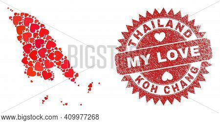 Vector Mosaic Koh Chang Map Of Lovely Heart Items And Grunge My Love Seal. Collage Geographic Koh Ch