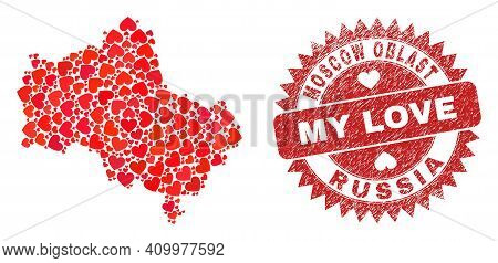 Vector Collage Moscow Region Map Of Valentine Heart Elements And Grunge My Love Stamp. Collage Geogr