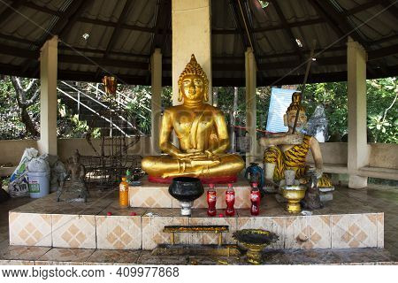 Buddha Statue And Holy At Front Of Tham Muang On Cave In Mountain Of Mae On For Thai People And Fore