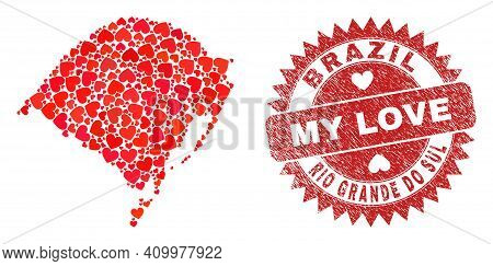 Vector Mosaic Rio Grande Do Sul State Map Of Love Heart Items And Grunge My Love Seal Stamp. Mosaic