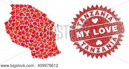 Vector Collage Tanzania Map Of Love Heart Elements And Grunge My Love Stamp. Collage Geographic Tanz