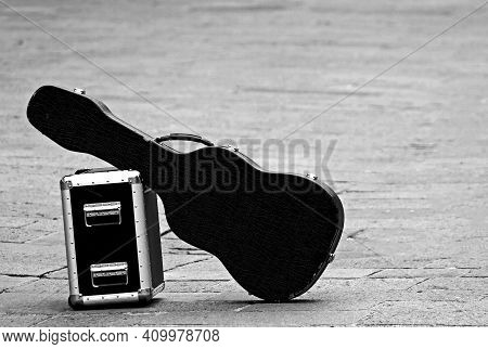 Guitar And Amplifier With Black And White Effect Symbol Of The Crisis That Has Hit The Entire Entert